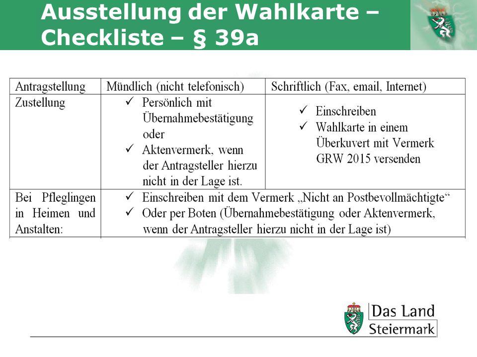 Ausstellung der Wahlkarte – Checkliste – § 39a