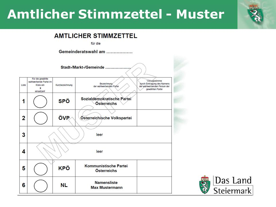Amtlicher Stimmzettel - Muster
