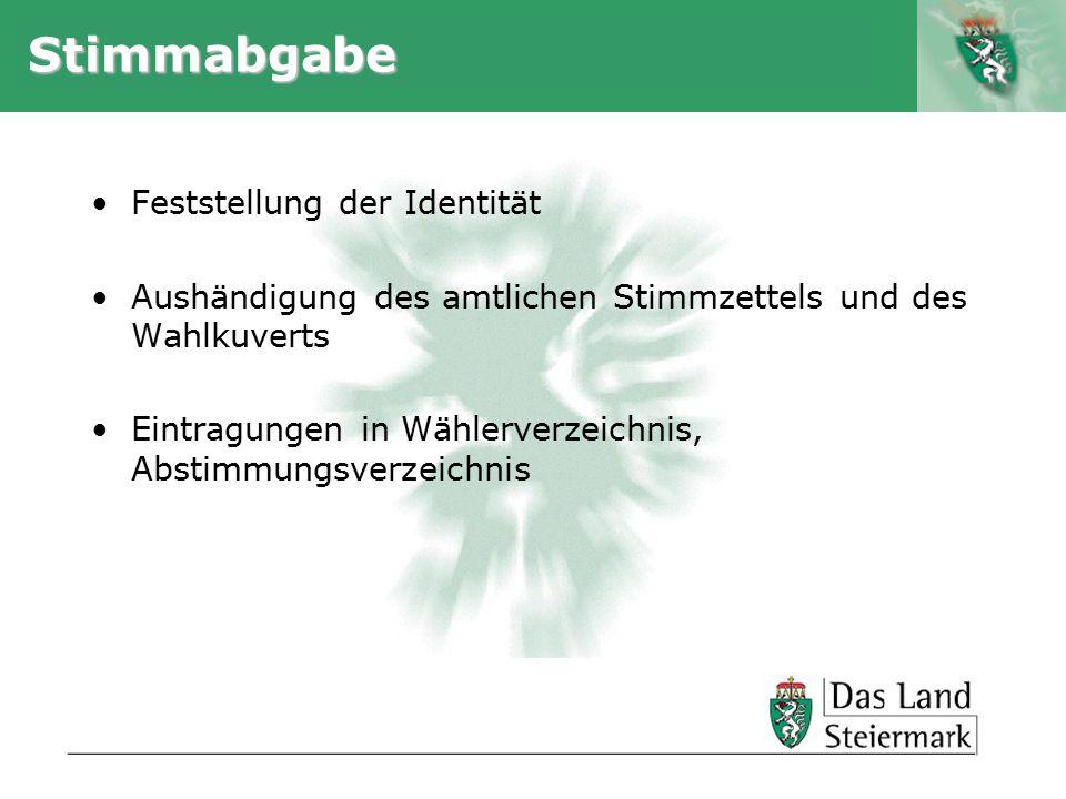 Stimmabgabe Feststellung der Identität