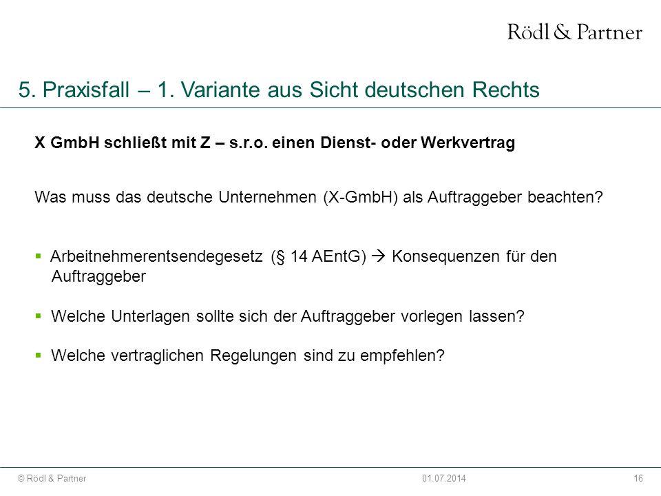 5. Praxisfall – 1. Variante aus Sicht deutschen Rechts