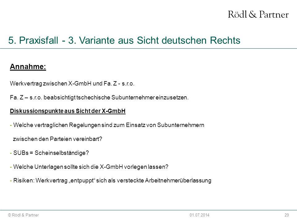 5. Praxisfall - 3. Variante aus Sicht deutschen Rechts