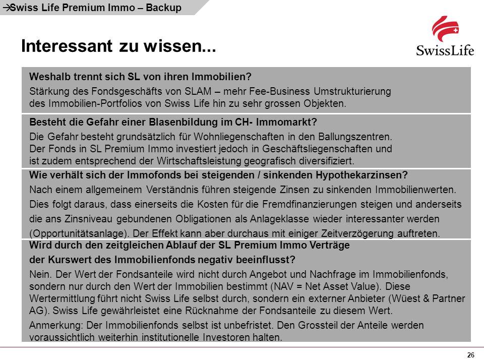 Interessant zu wissen... Swiss Life Premium Immo – Backup