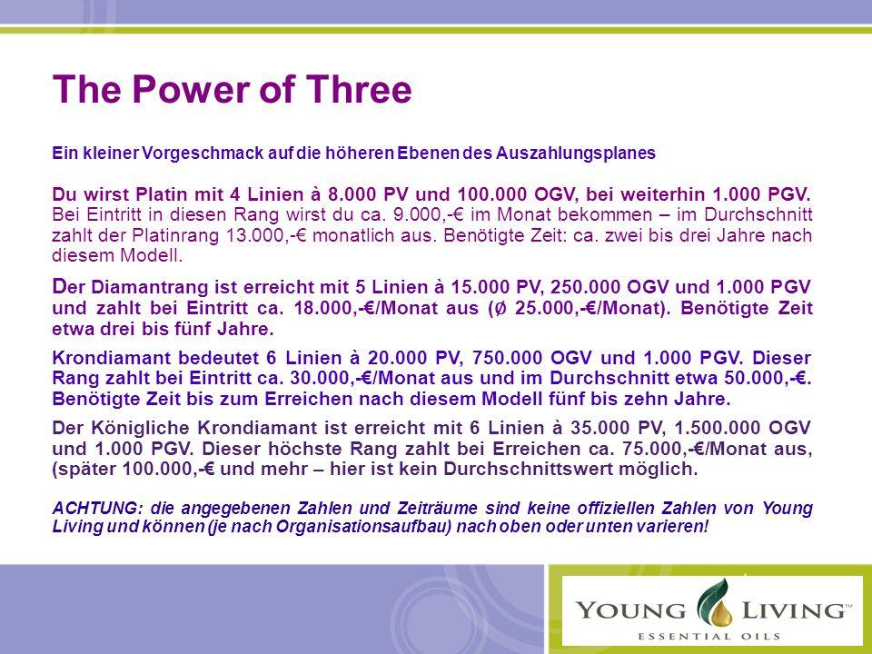 The Power of Three Ein kleiner Vorgeschmack auf die höheren Ebenen des Auszahlungsplanes.