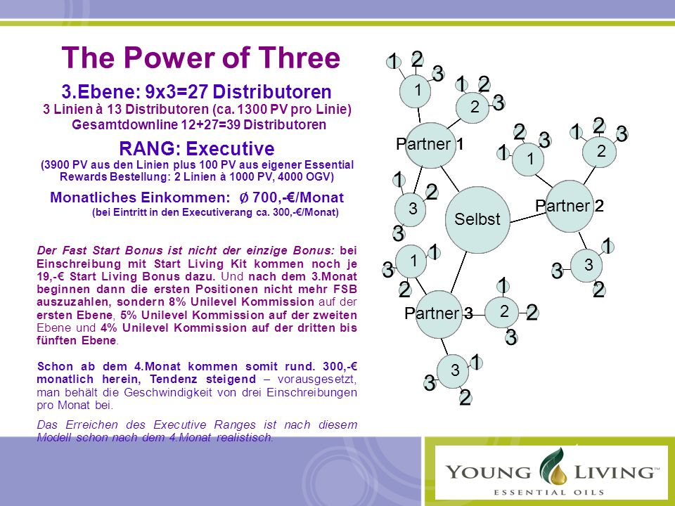 The Power of Three 3.Ebene: 9x3=27 Distributoren. 3 Linien à 13 Distributoren (ca. 1300 PV pro Linie)