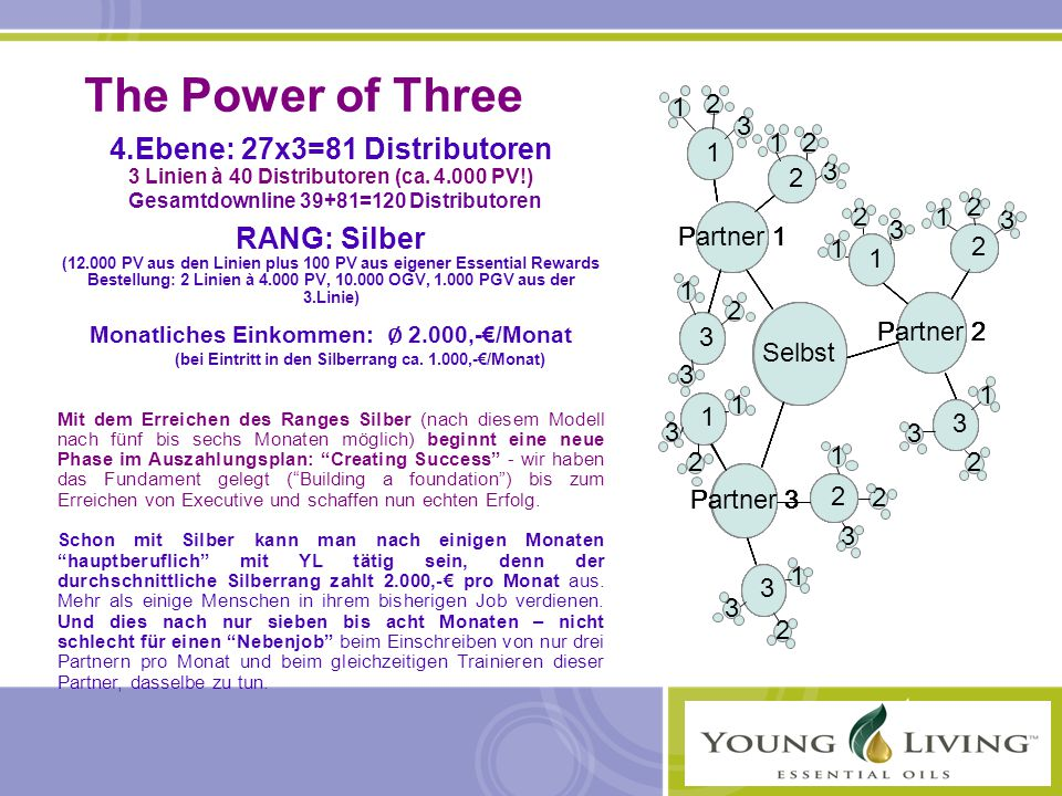 The Power of Three 4.Ebene: 27x3=81 Distributoren RANG: Silber 1 2 3 1