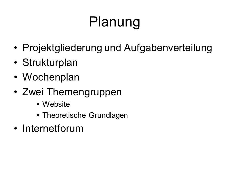Planung Projektgliederung und Aufgabenverteilung Strukturplan
