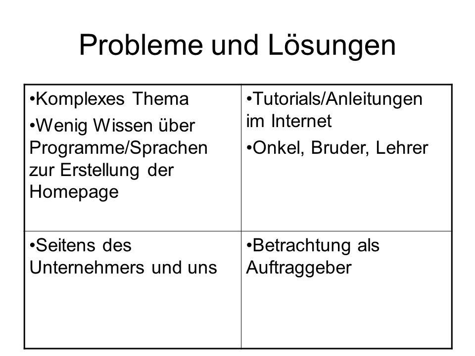 Probleme und Lösungen Komplexes Thema