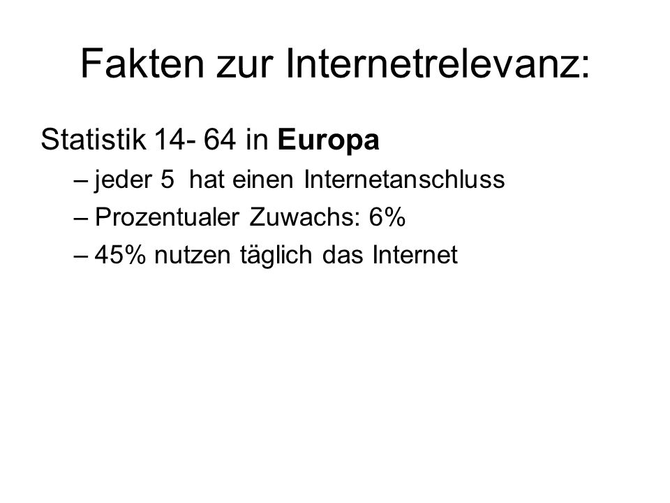 Fakten zur Internetrelevanz: