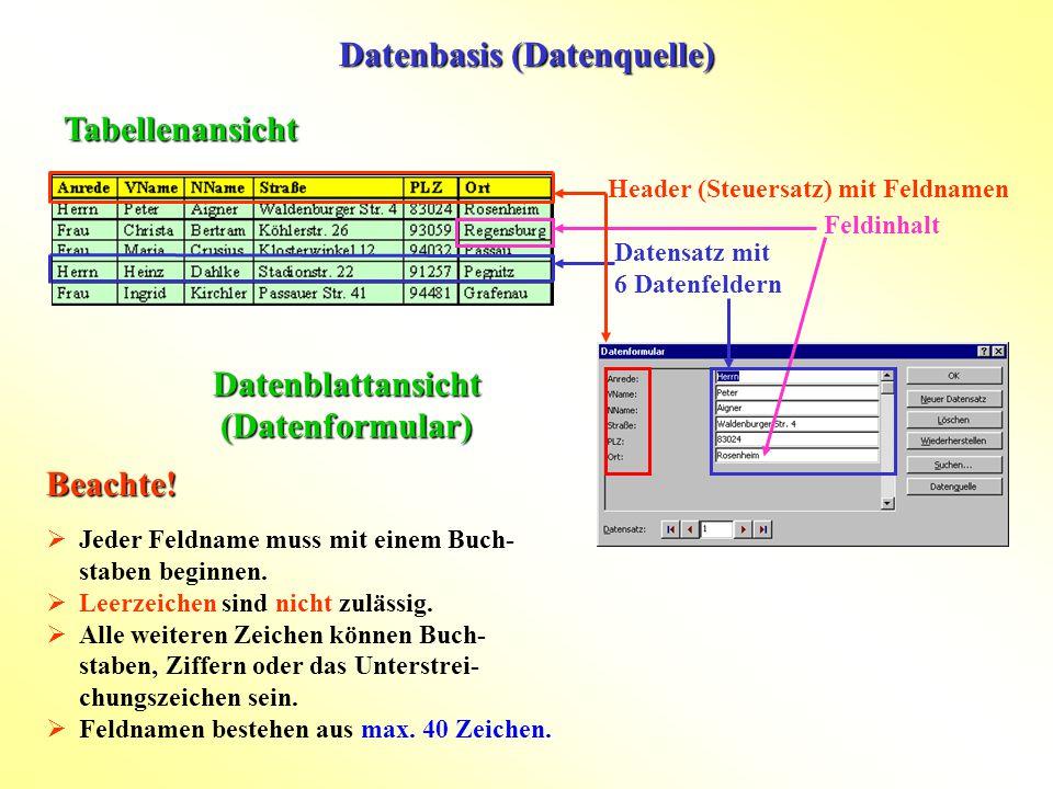 Datenbasis (Datenquelle) Datenblattansicht (Datenformular)