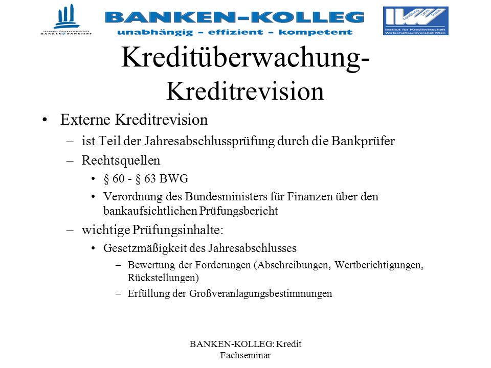 Kreditüberwachung- Kreditrevision