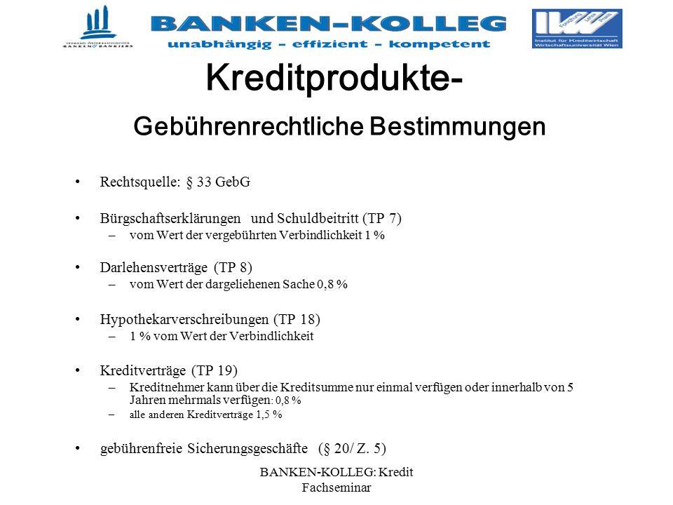 Kreditprodukte- Gebührenrechtliche Bestimmungen