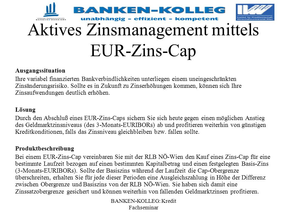 Aktives Zinsmanagement mittels EUR-Zins-Cap