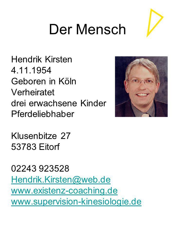 Der Mensch Hendrik Kirsten 4.11.1954 Geboren in Köln Verheiratet