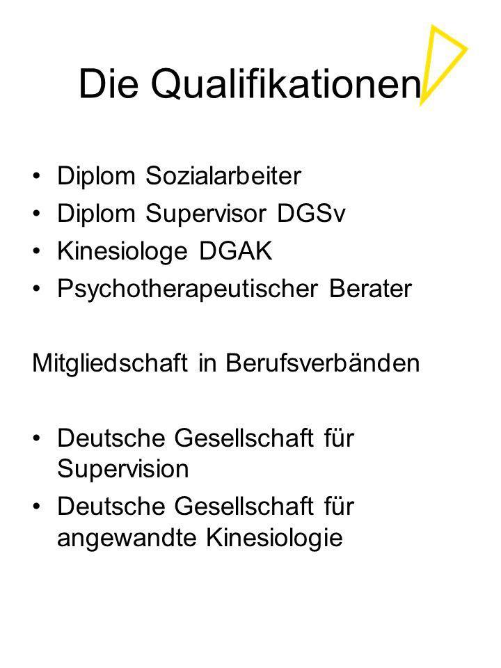 Die Qualifikationen Diplom Sozialarbeiter Diplom Supervisor DGSv
