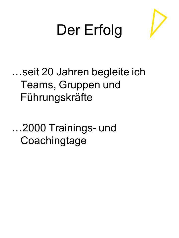 Der Erfolg …seit 20 Jahren begleite ich Teams, Gruppen und Führungskräfte.