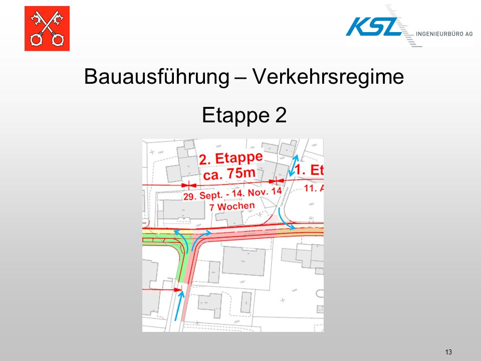Bauausführung – Verkehrsregime Etappe 2