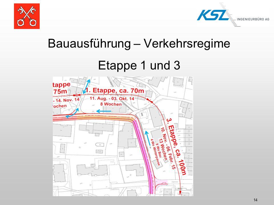 Bauausführung – Verkehrsregime Etappe 1 und 3