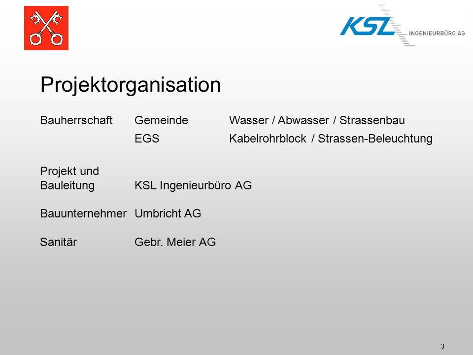 Projektorganisation Bauherrschaft Gemeinde Wasser / Abwasser / Strassenbau. EGS Kabelrohrblock / Strassen-Beleuchtung.