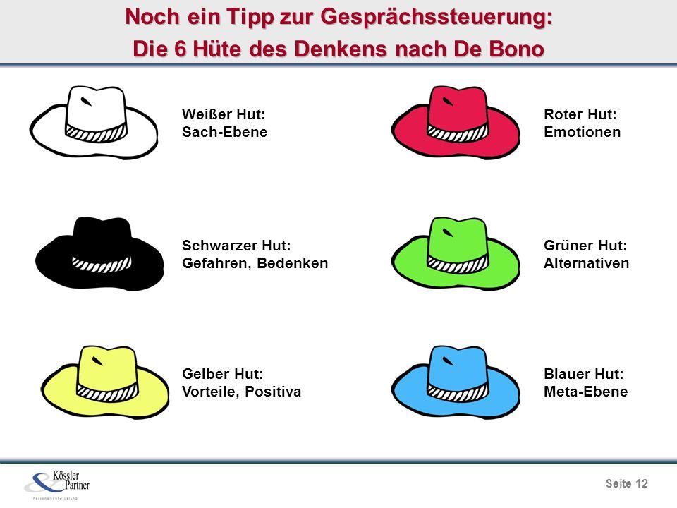 Noch ein Tipp zur Gesprächssteuerung: Die 6 Hüte des Denkens nach De Bono