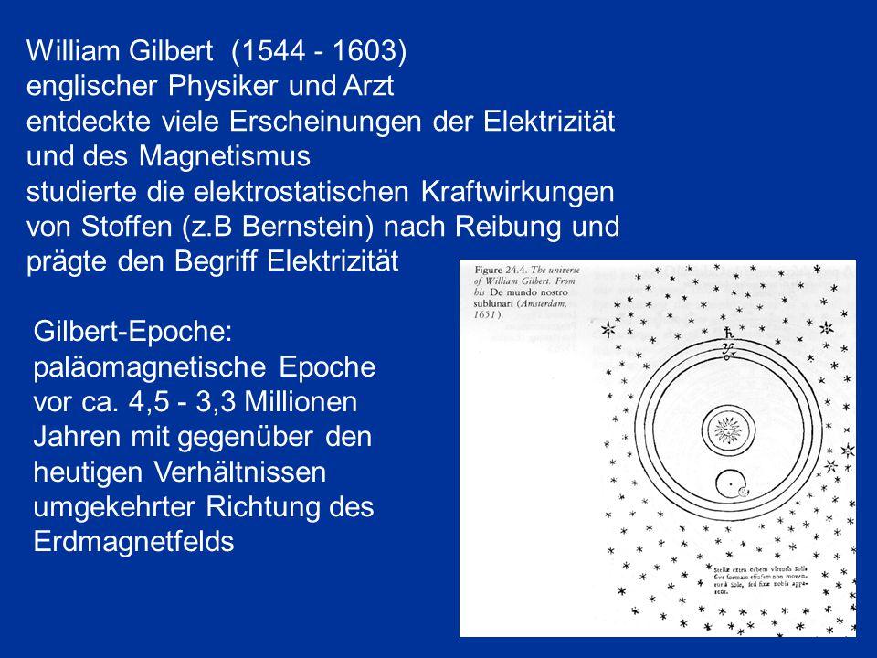 William Gilbert (1544 - 1603) englischer Physiker und Arzt. entdeckte viele Erscheinungen der Elektrizität und des Magnetismus.