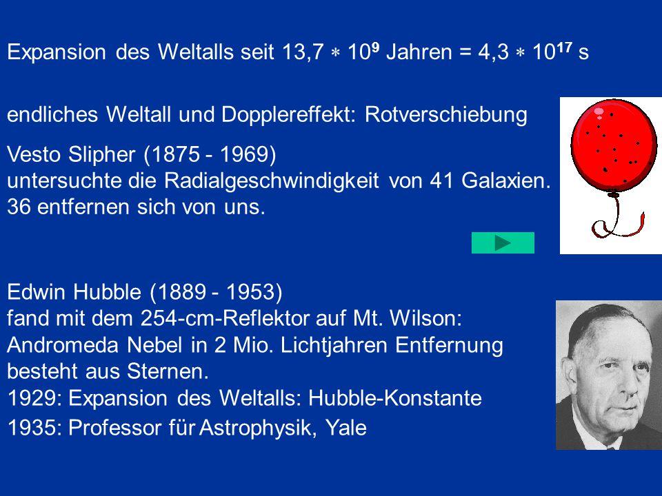 Expansion des Weltalls seit 13,7 * 109 Jahren = 4,3 * 1017 s
