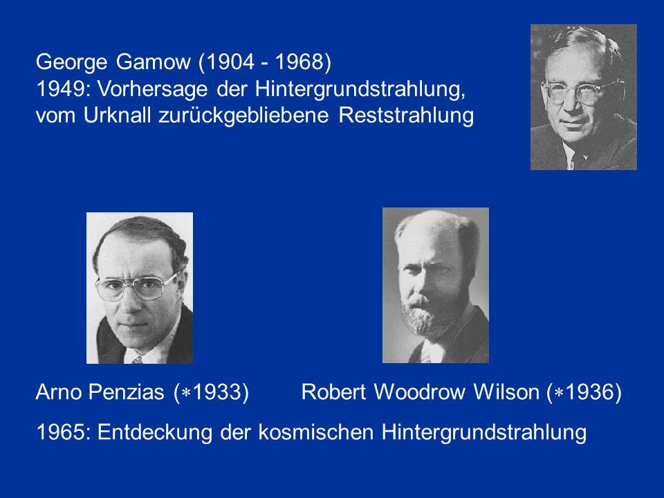 George Gamow (1904 - 1968) 1949: Vorhersage der Hintergrundstrahlung, vom Urknall zurückgebliebene Reststrahlung.