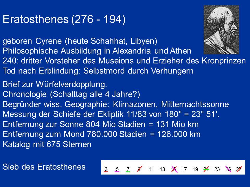 Eratosthenes (276 - 194) geboren Cyrene (heute Schahhat, Libyen)