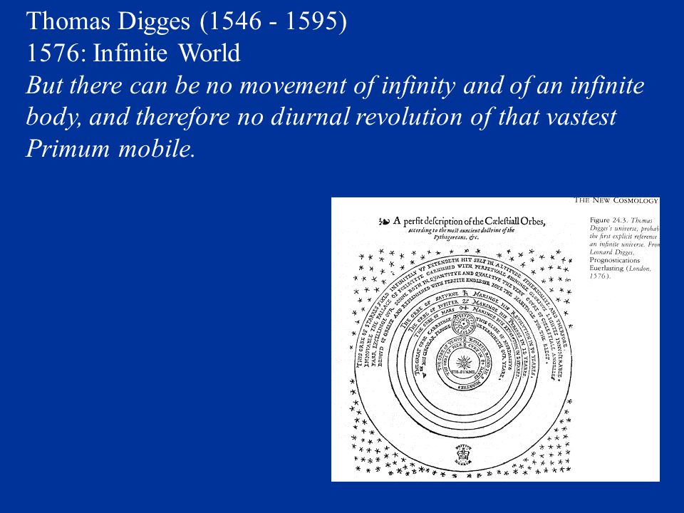 Thomas Digges (1546 - 1595) 1576: Infinite World.