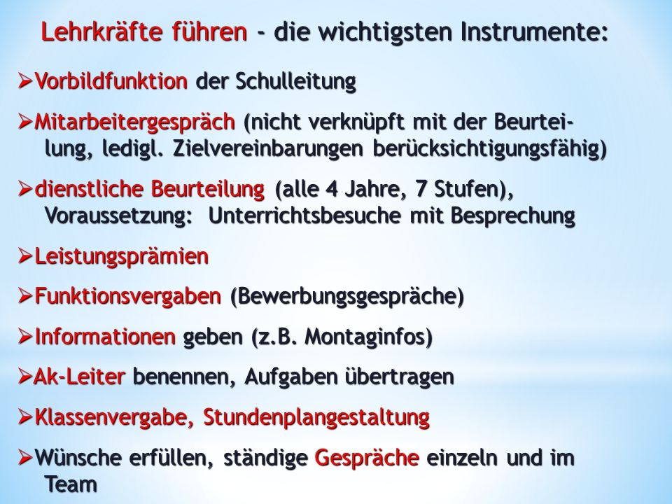 Lehrkräfte führen - die wichtigsten Instrumente: