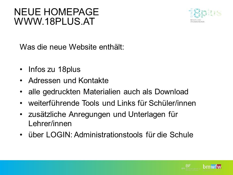 Neue Homepage www.18plus.at