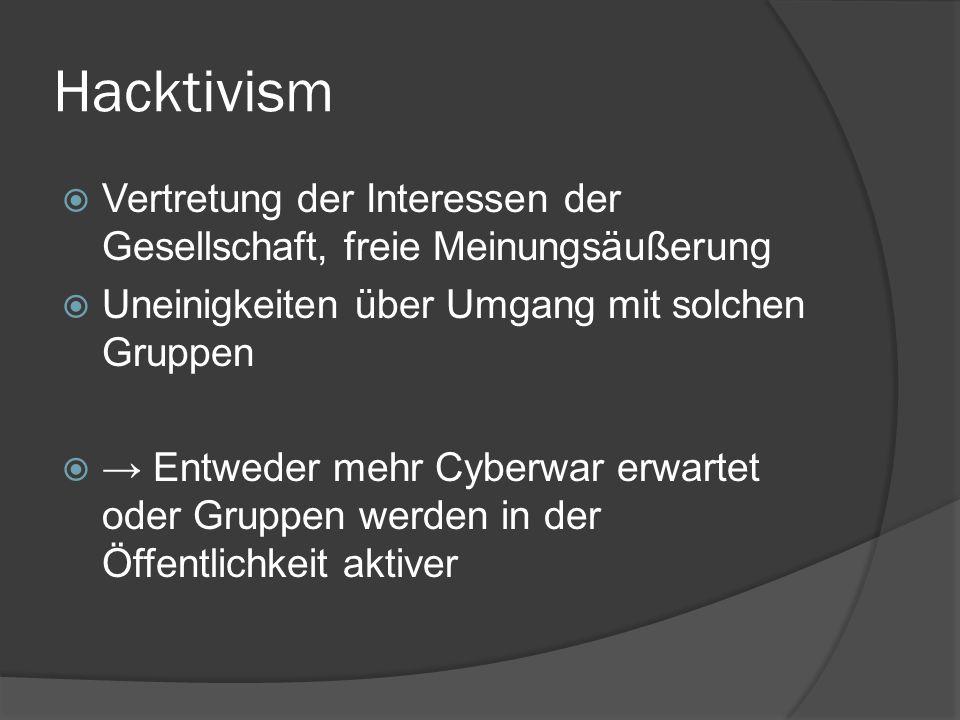 Hacktivism Vertretung der Interessen der Gesellschaft, freie Meinungsäußerung. Uneinigkeiten über Umgang mit solchen Gruppen.