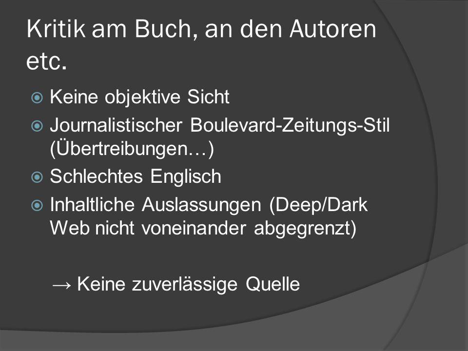 Kritik am Buch, an den Autoren etc.