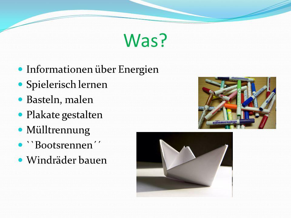 Was Informationen über Energien Spielerisch lernen Basteln, malen