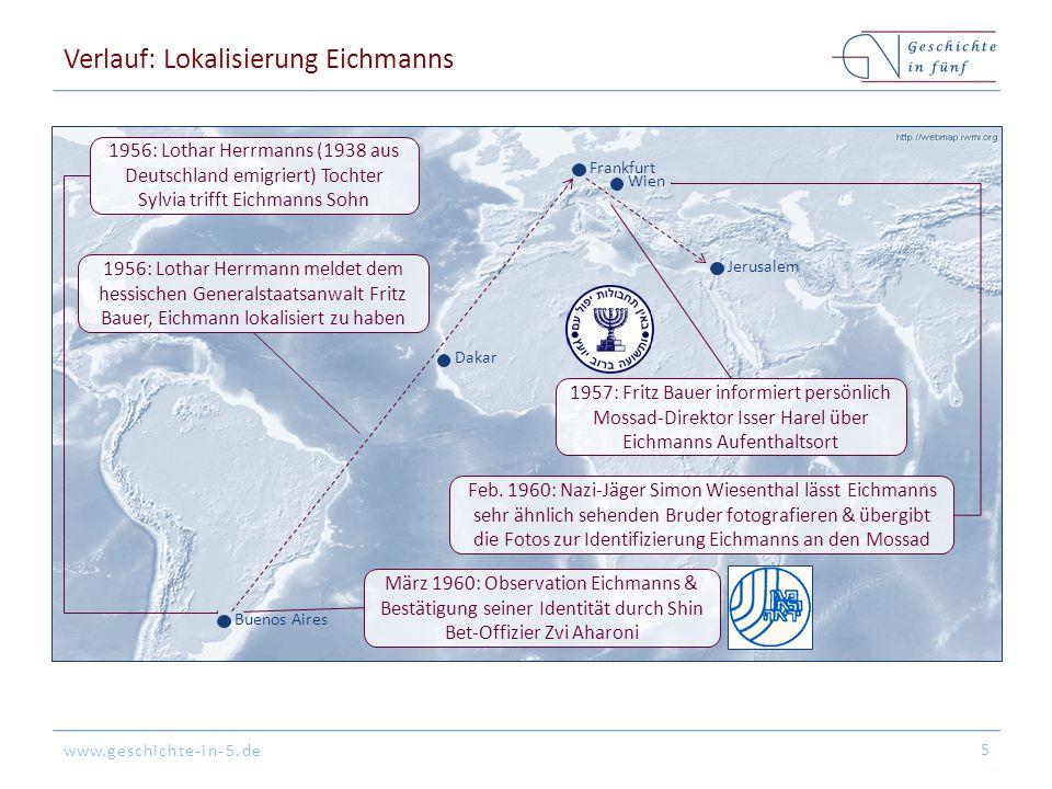 Verlauf: Lokalisierung Eichmanns