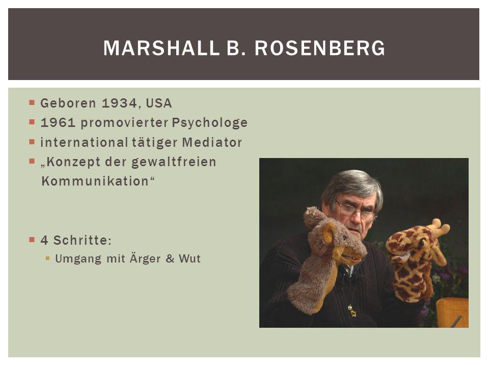 Marshall B. Rosenberg Geboren 1934, USA 1961 promovierter Psychologe