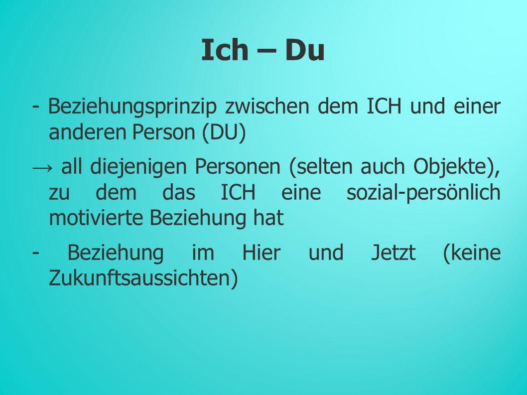 Ich – Du - Beziehungsprinzip zwischen dem ICH und einer anderen Person (DU)