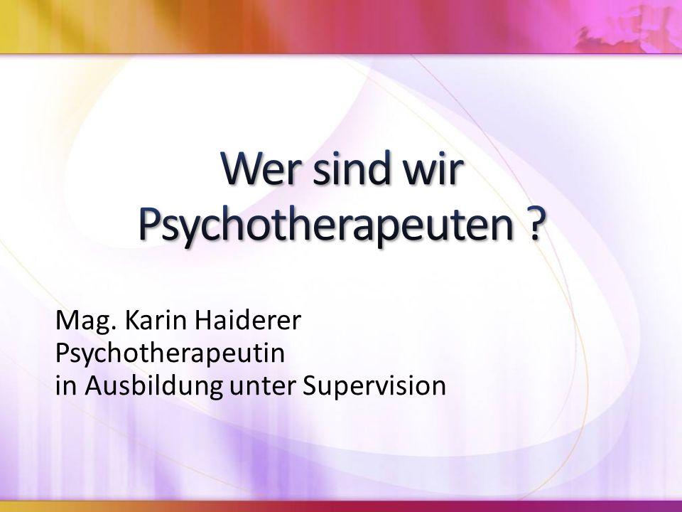 Wer sind wir Psychotherapeuten