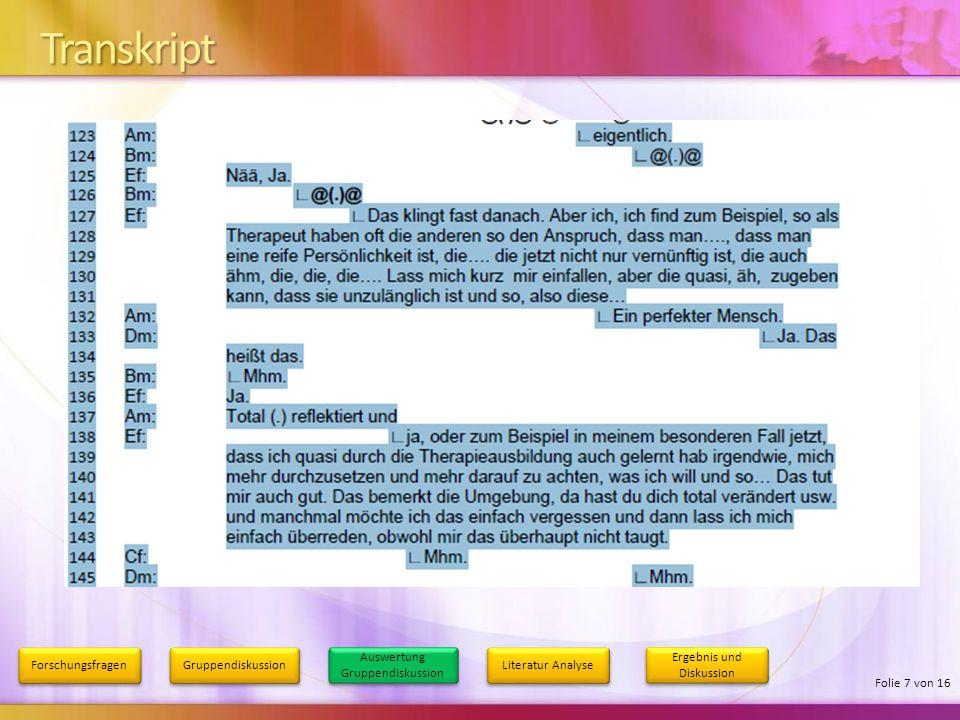 4/9/2017 5:13 AM Transkript. Forschungsfragen. Gruppendiskussion. Auswertung Gruppendiskussion. Literatur Analyse.