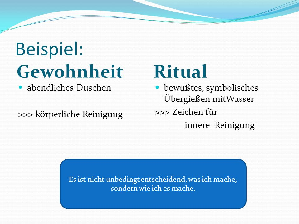 Beispiel: Gewohnheit Ritual abendliches Duschen