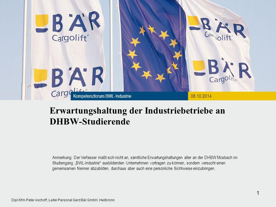 Erwartungshaltung der Industriebetriebe an DHBW-Studierende