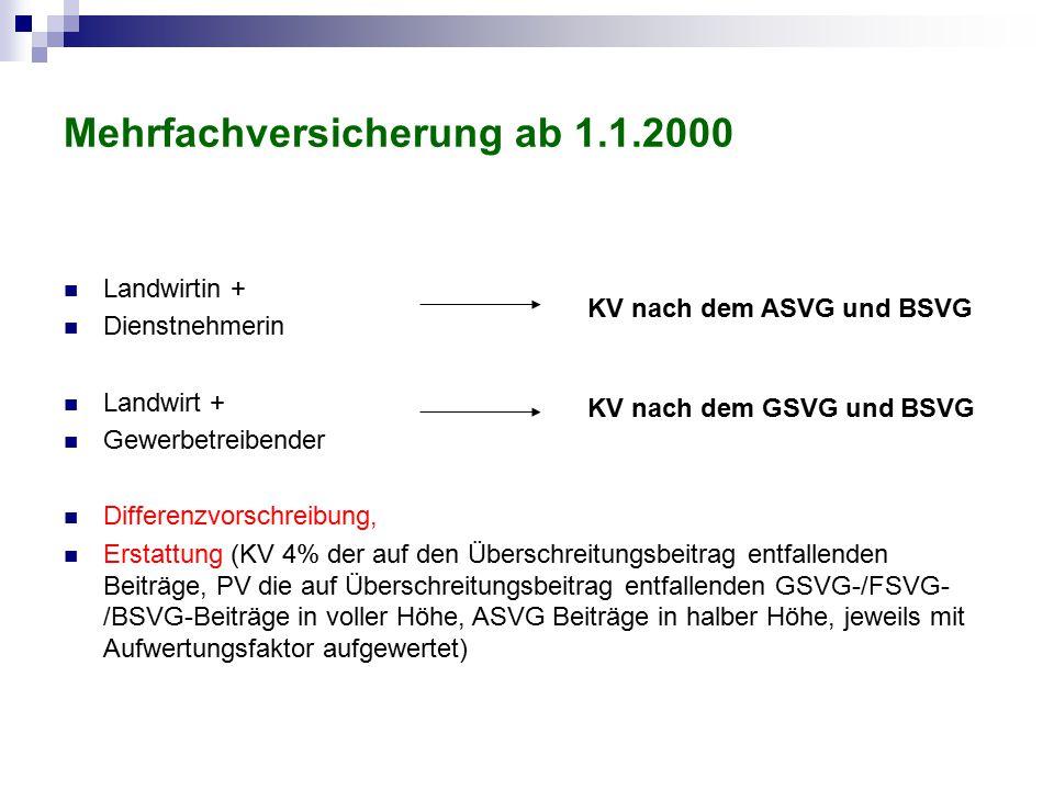Mehrfachversicherung ab 1.1.2000