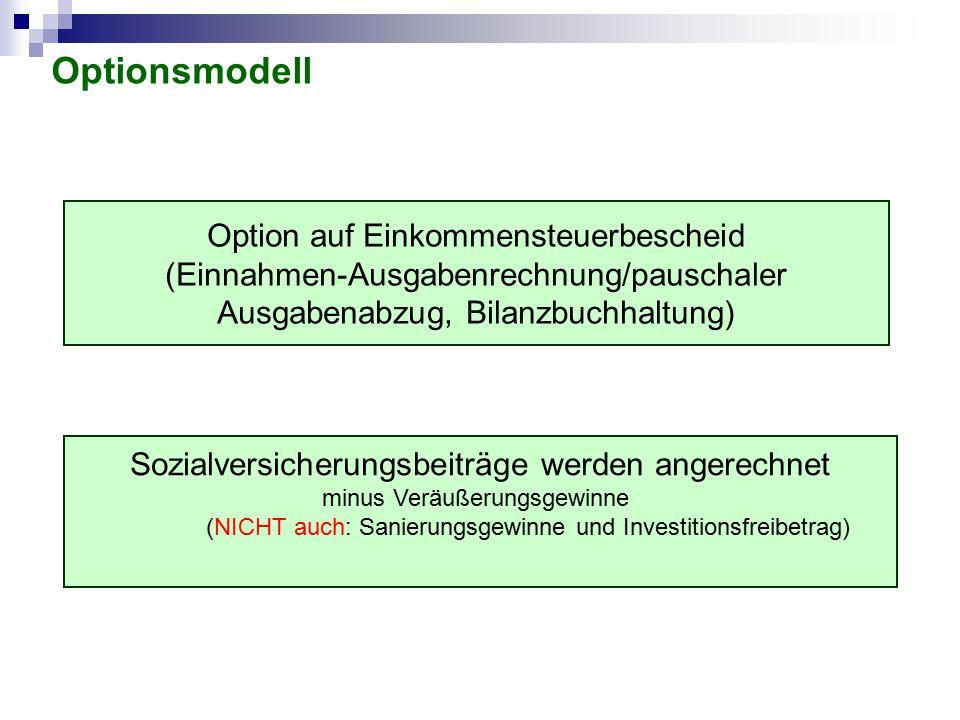 Optionsmodell Option auf Einkommensteuerbescheid (Einnahmen-Ausgabenrechnung/pauschaler Ausgabenabzug, Bilanzbuchhaltung)