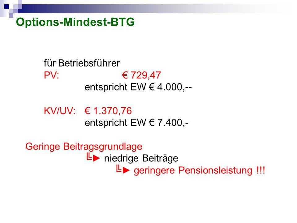 Options-Mindest-BTG für Betriebsführer PV: € 729,47