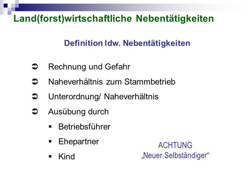 Definition ldw. Nebentätigkeiten