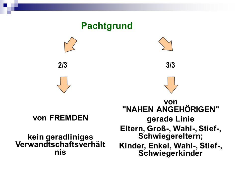 Pachtgrund 2/3 3/3 von NAHEN ANGEHÖRIGEN von FREMDEN gerade Linie