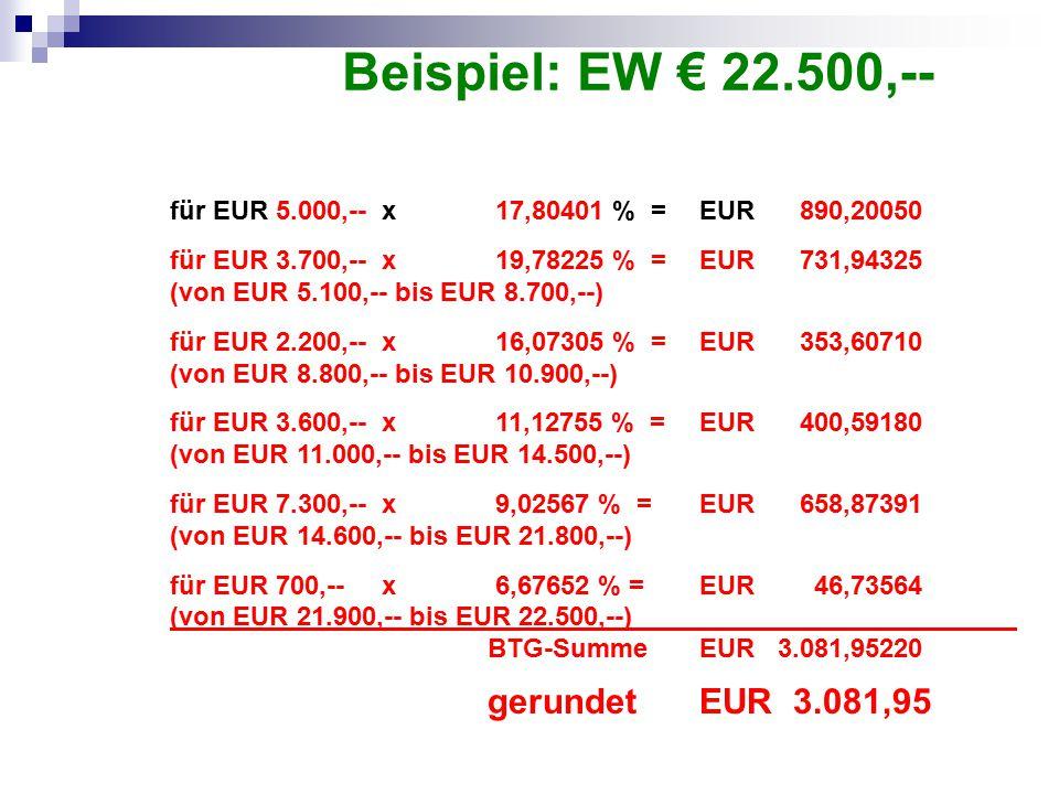 Beispiel: EW € 22.500,-- für EUR 5.000,-- x 17,80401 % = EUR 890,20050