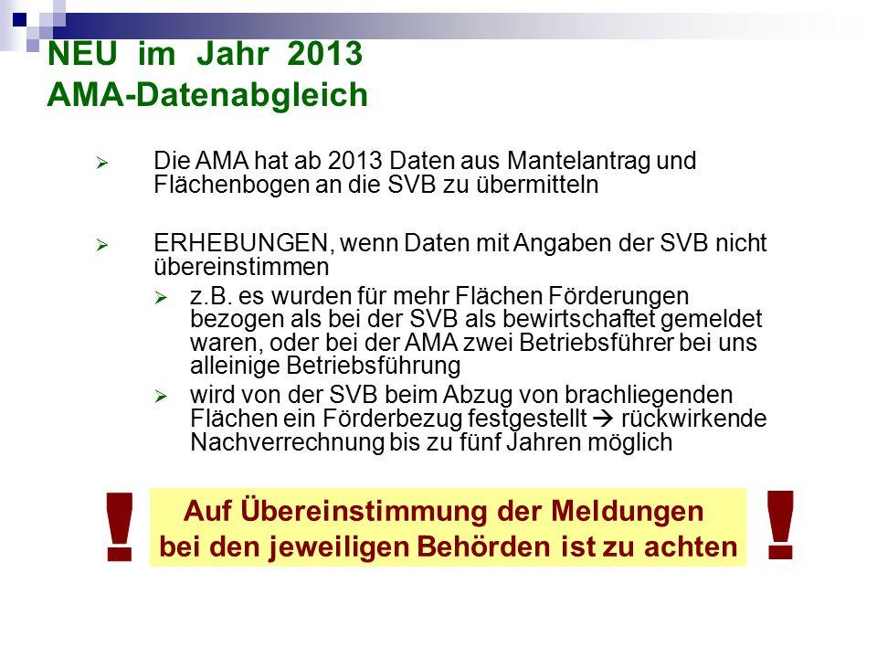 NEU im Jahr 2013 AMA-Datenabgleich