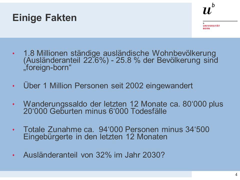 """Einige Fakten 1.8 Millionen ständige ausländische Wohnbevölkerung (Ausländeranteil 22.6%) - 25.8 % der Bevölkerung sind """"foreign-born"""