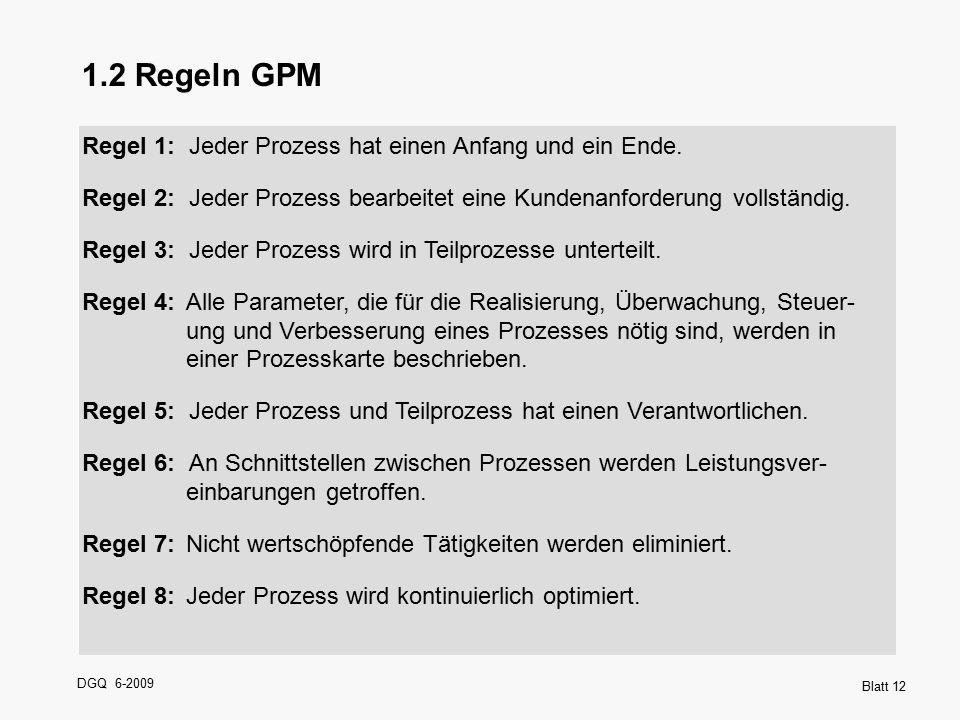 1.2 Regeln GPM Regel 1: Jeder Prozess hat einen Anfang und ein Ende.