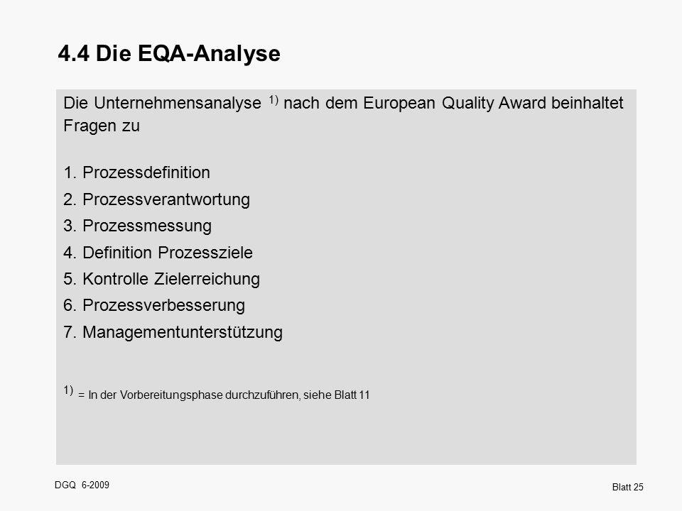 4.4 Die EQA-Analyse Die Unternehmensanalyse 1) nach dem European Quality Award beinhaltet. Fragen zu.